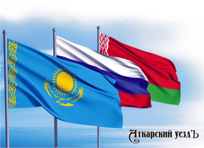 Флаги Казахстана России и Белоруссии