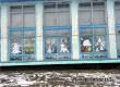 Окна Кочетовского дома культуры украсили новогодние вытынанки